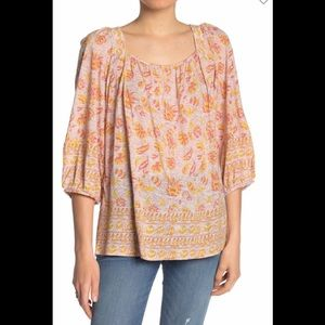 ARRIVE MONDAY Lucky Brand Border Print Peasant Top